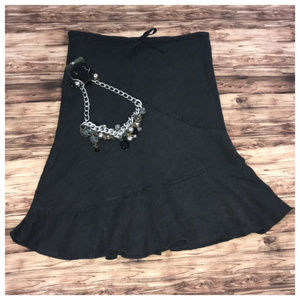 H&M Black Linen Midi Skirt Size 4